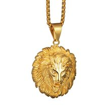 Gold Color Lion Head Pendants Necklaces Hip Hop Titanium Steel Necklace Gold Chain Hanging Ornaments Men Women(China)