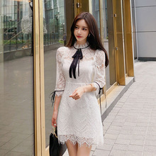 2019 autumn and winter new Korean fashion temperament slim lace dress Knee-Length  Zippers  Lace original 2 pieces set dress 2017 new autumn slim fashion temperament black lace dresses women