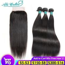 Прямые волосы Ali Grace, пряди с застежкой, 4 х4 застежки с пряди, бразильские 30 дюймовые человеческие волосы, пучки с застежкой