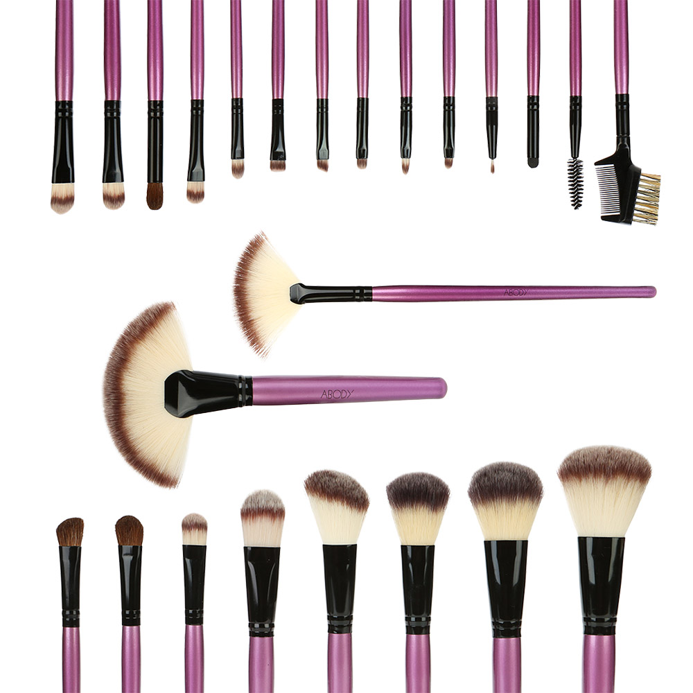 Abody 24pcs Makeup Brush Set Toiletry Kit Essential Cosmetic Facial Eyeshadow Powder Brush Beauty Make Up Tools + Cosmetic Bag