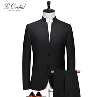 PEORCHID 2021 Black Chinese Style Men Suits Traditional Stand Collar Male Wedding Dress Single Breasted Formal Bruidegom Wear
