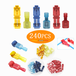 240 PCS T Tap Electrical Yellow, Red Blue Electrical Connectors Quick Wire Splice Taps and Insulated Male Quick Disconnect Term