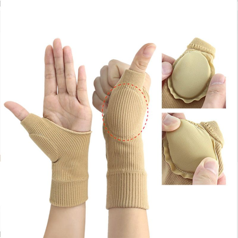Sports Thumb Wrist Brace Silicone Pad Compression Support Sleeve For Pain Relief