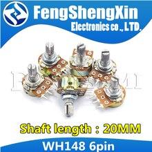 5pcs/lot Shaft 20mm 6Pin B1K B2K B5K B10K B20K B50K B100K B500K B1M WH148 Potentiometer 1K 2K 5K 10K 20K 50K 100K 500K 1M