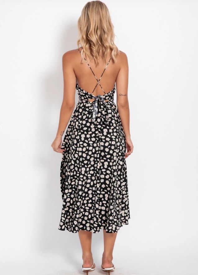 Kadın spagetti Midi elbise baskı Backless tatil elbisesi seksi Ropa Mujer robe femme tatlı uzun elbise Boho papatya yaz elbisesi