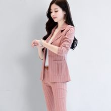 European Style Womens Suit 2020 New Fashion Elegant Striped Lady Blazer Office Suit Slim Pink Jacket Long Pants Two Pieces Suit(China)