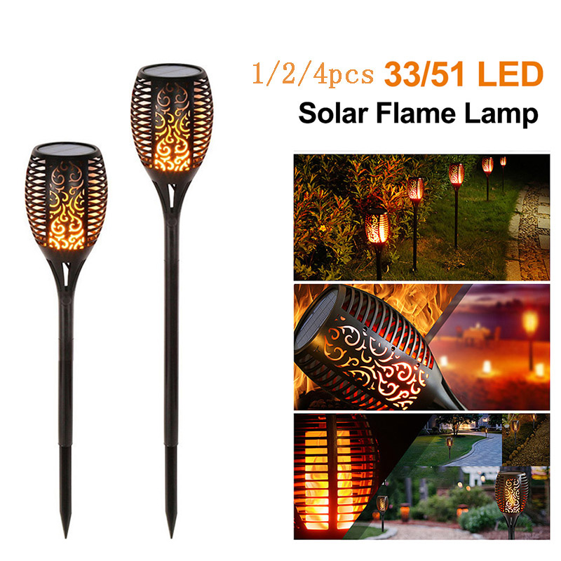 33/51 LED Solar Flame Lamp Flickering Outdoor IP65 Waterproof  1/2/4pcs Decor Landscape Light Yard Garden Path Lighting