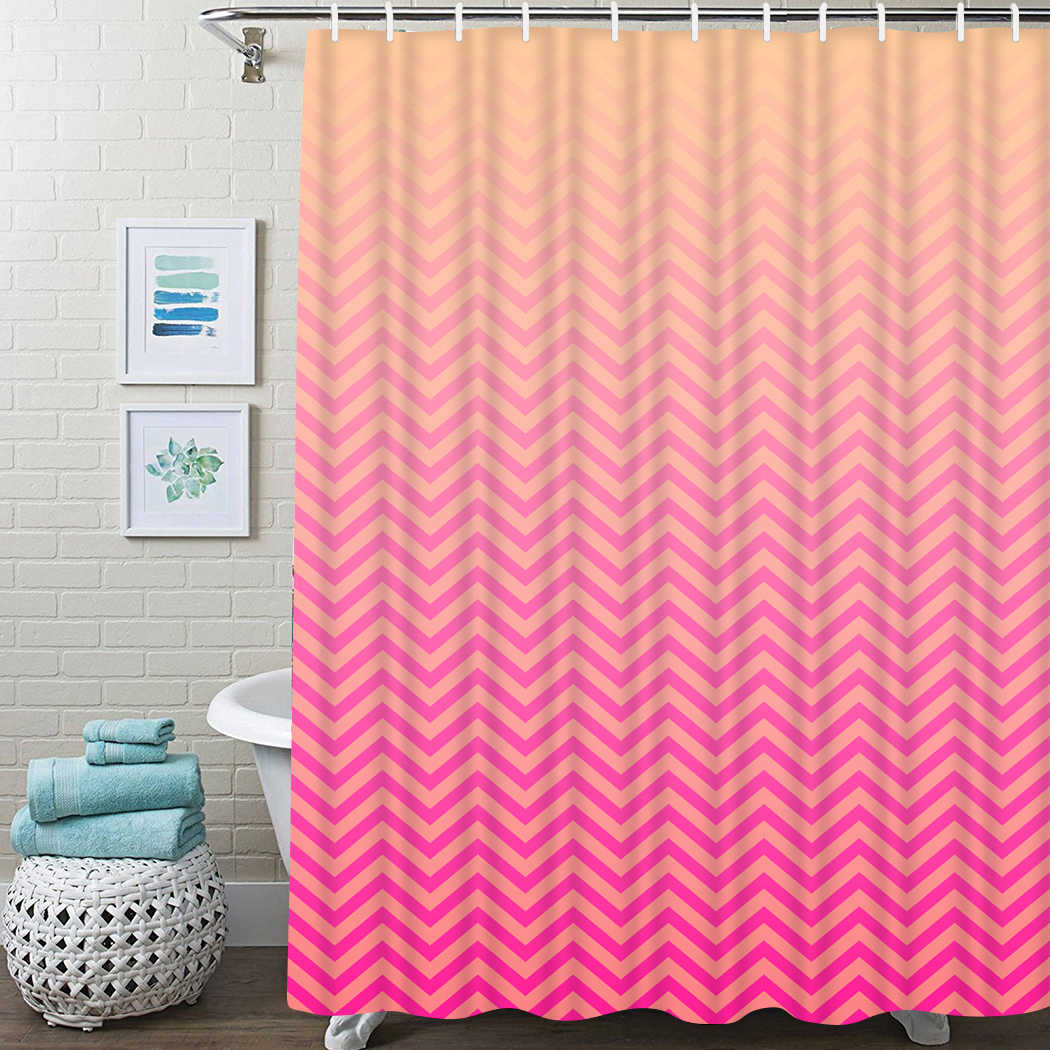 Pink Peach Shower Curtain Tropical Zigzag Waterproof Bathroom Shower Curtain Solid Stripes Bathroom Shower Curtain With Hooks Shower Curtains Aliexpress