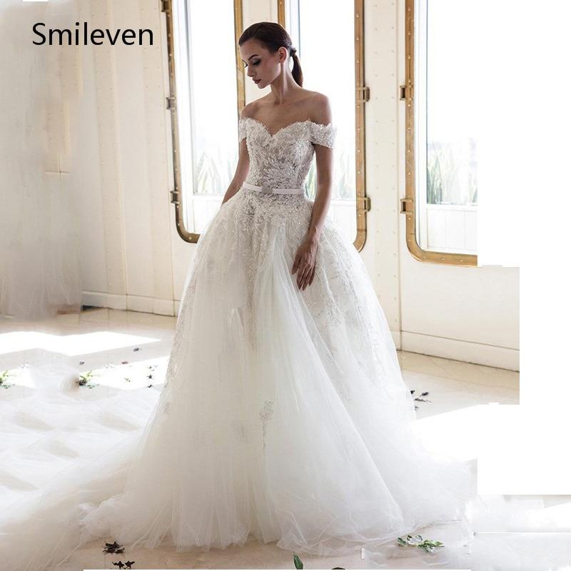 Smileven BOHO Wedding Dress Off The Shoulder Appliqued Lace Bride Dresses Vestido De Noiva Backless Wedding Gowns