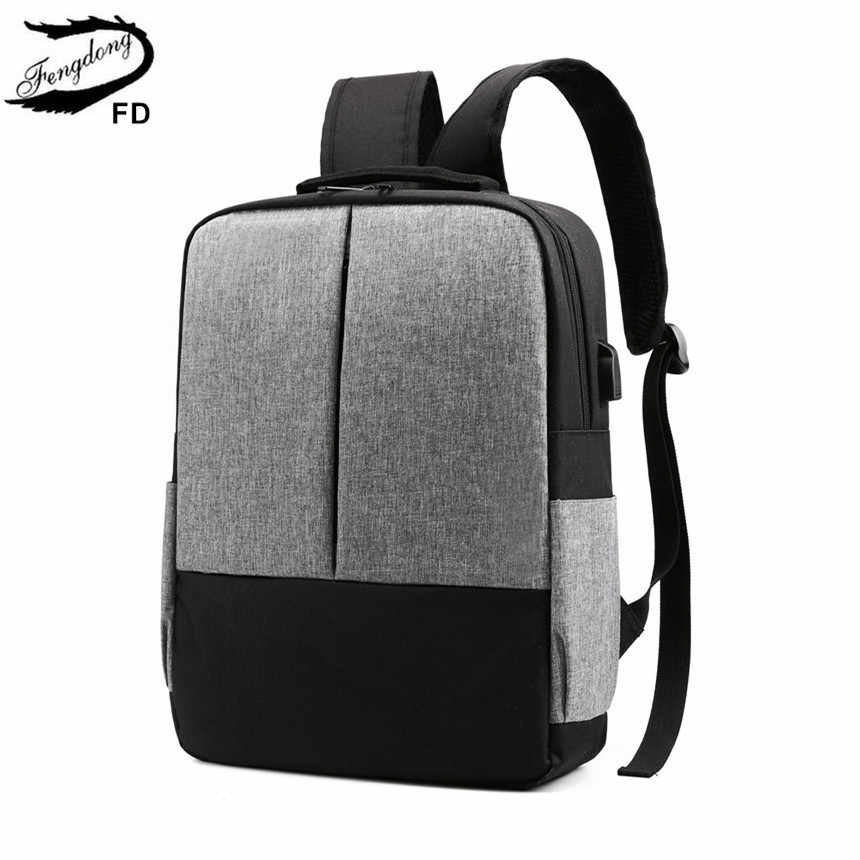 FengDong minimalist college boys school backpack student laptop bag 15.6 waterproof school backpacks for teenagers men bag pack
