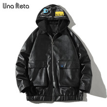 Una Reta Pu Leather Jacket Men New Autumn Zipper Streetwear Men's Leather Jacket Print Hooded Black Coat Hip Hop Biker Jacket(China)