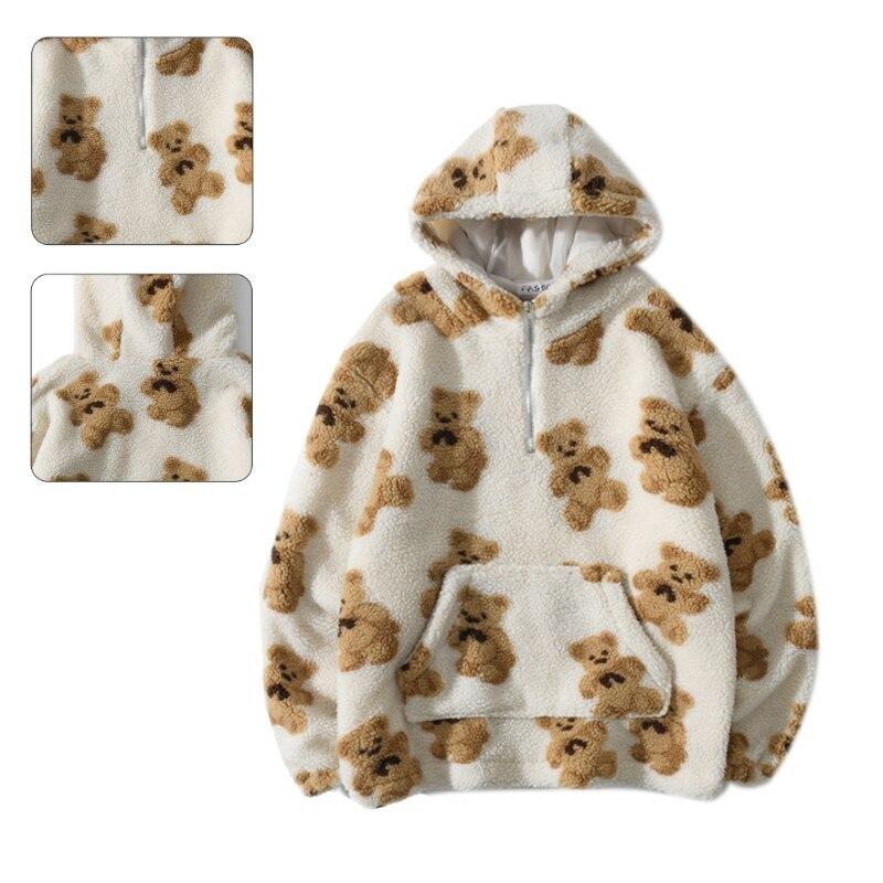 Men Winter Faux Wool Warm Hoodies Cartoon Bear Print Zipper Pullover Sweatshirt 6XDA