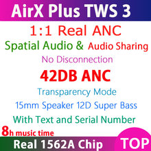 Airx plus tws anc sem fio bluetooth fone de ouvido 1:1 air3 com texto cancelamento de ruído ativo & espacial áudio fones de ouvido & número de série