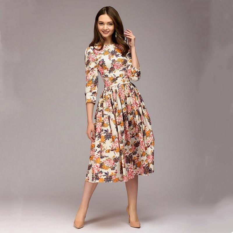 2019 NEW Women Casual Knee-length Dress Elegant Printing O-neck A-line Vestidos Women Autumn Fashion Bottom Dress