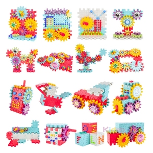 Image 5 - 키즈 3D 기어 블록 DIY 장난감 버섯 손톱 플라스틱 교육 완구 조립 빌딩 블록 키트 소년 소녀를위한 벽돌 장난감