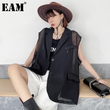 [EAM] Women Loose Fit Black Pocket Perspective Big Size Vest New Lapel Sleeveless Fashion Tide Spring Summer 2021 1DE0695 1