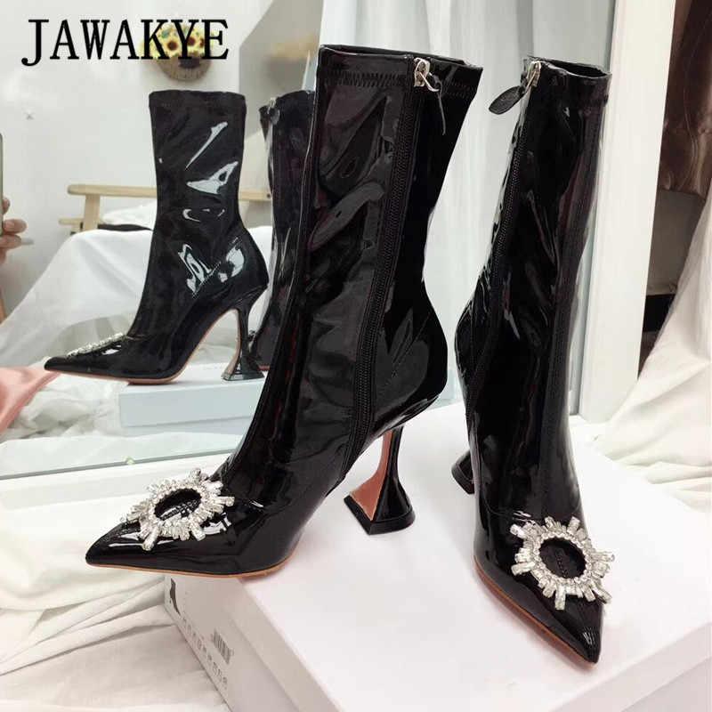 Yeni sivri burun güneş kristal yaka sıkı yüksek çizmeler kadın fincan yüksek topuk parti ayakkabıları elastik ince uzun çizmeler kış ayakkabı kadın