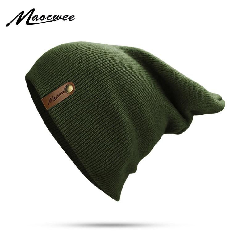 Brand Winter Hat For Men Skullies Beanies Women Fashion Warm Cap Unisex Elasticity Knit Beanie Green Unisex Casual Hats 2018