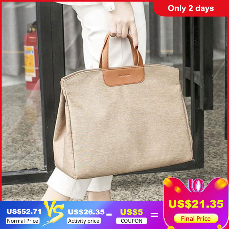 Super Large Capacity Women's Briefcase Korean Canvas A4 Document Office Bag For Women Mom 15
