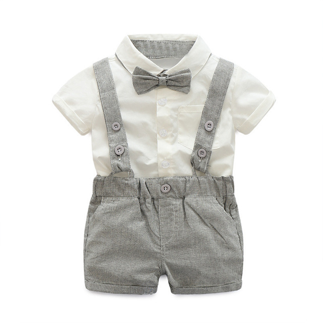 2020 Summer Toddler Boys Clothing Set Gentleman Suit Kids Short Sleeve Bow Tie Shirt+Suspenders Shorts Casual Baby Boy Clothes