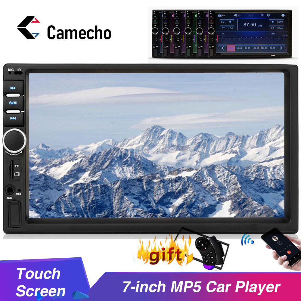 Camecho 7018B Car Universal Audio 7 Inch 2 DIN Autoradio Stereo Touch Screen Auto Radio Video MP5 Player Support Bluetooth TF SD MMC USB FM with Mini Backup Camera