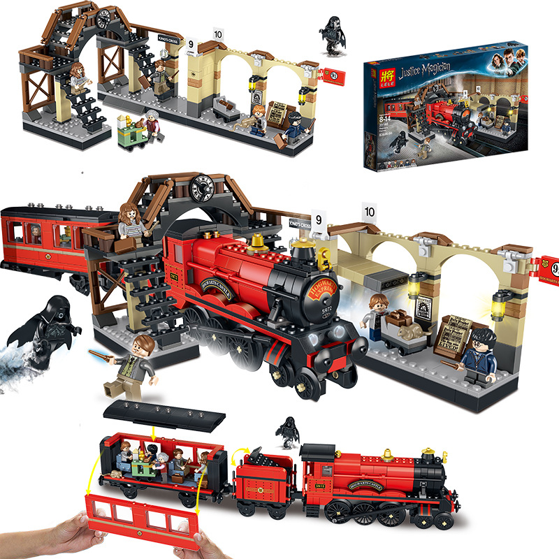 <font><b>16055</b></font> Movie Express Train Building Blocks Bricks Movies Series Compatible Legoinglys Marvel 75955 Model Gifts image