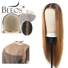 Beeos TIB/27 Color Fake Scalp Cap 13*6 Lace Front Human Hair Wig Deep Part Brazilian Remy Wigs High Ratio Ombre Honey Blond - DISCOUNT ITEM  48% OFF All Category