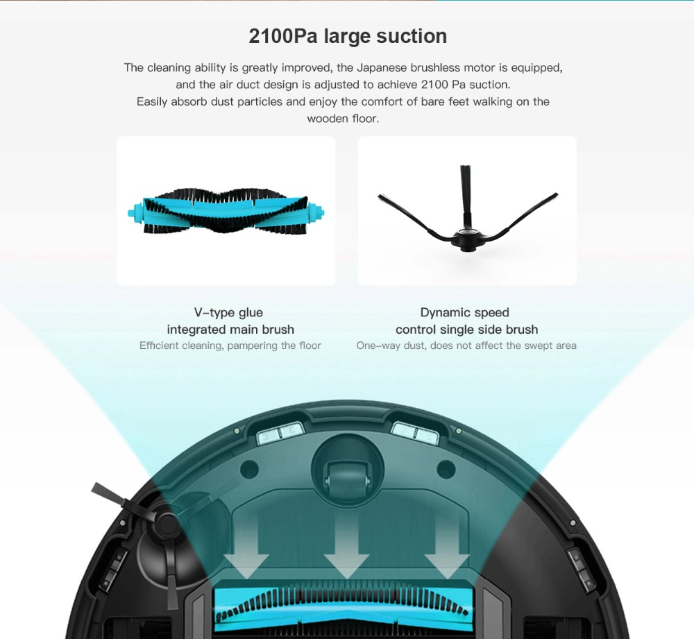 Original VIOMI V2 PRO vacuum cleaner 2100pa LDS strong suction sweeping robot automatic charging LDS laser navigation scanning 8