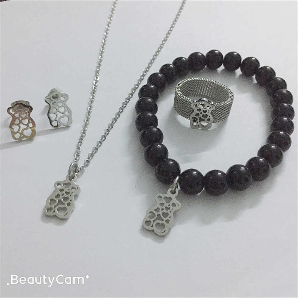 bear jewelry Necklace Earring beads Bracelet Ring Set New Party Jewelry Sets For best gift hot sell top high quality free ship