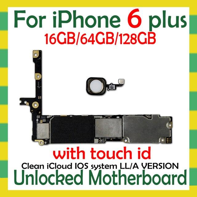 Fabrycznie odblokowany dla iphone 6 Plus 5.5 cala płyta główna z/bez Touch ID, oryginalny dla iphone 6 Plus Logic board z bezpłatnym iCloud