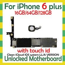 מפעל נעול עבור iphone 6 בתוספת 5.5 אינץ לוח האם עם/לא מגע מזהה, מקורי עבור iphone 6 בתוספת היגיון לוח עם משלוח iCloud