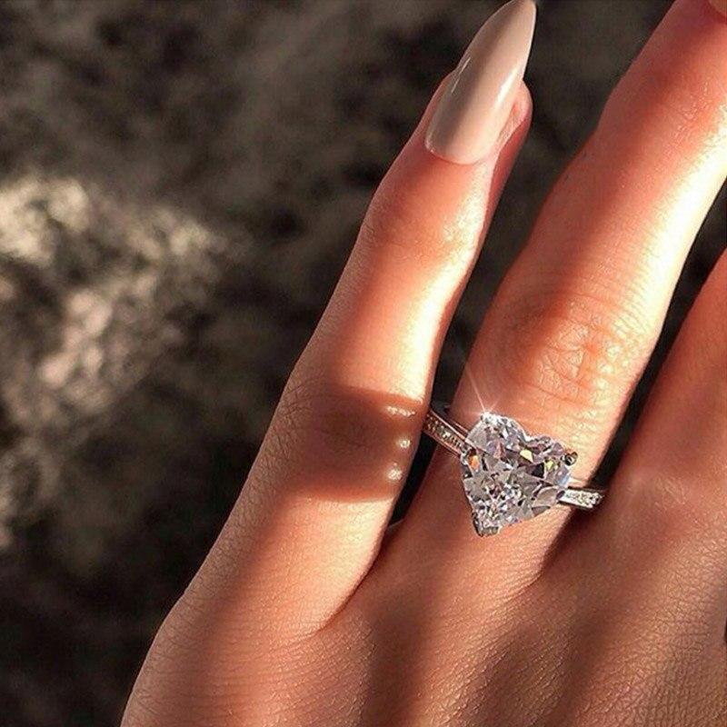 ZWC מגמת אופנה מעודן קריסטל טבעות לנשים AAA לבן מעוקב Zirconia כפול כסף צבע מעודן חתונה נשי טבעת