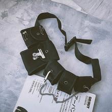 Casual Waist Bags Unisex For Teenage Girl Boy Crossbody Fashion Chains Multi-pocket Chest BagCool Hip Hop Street New