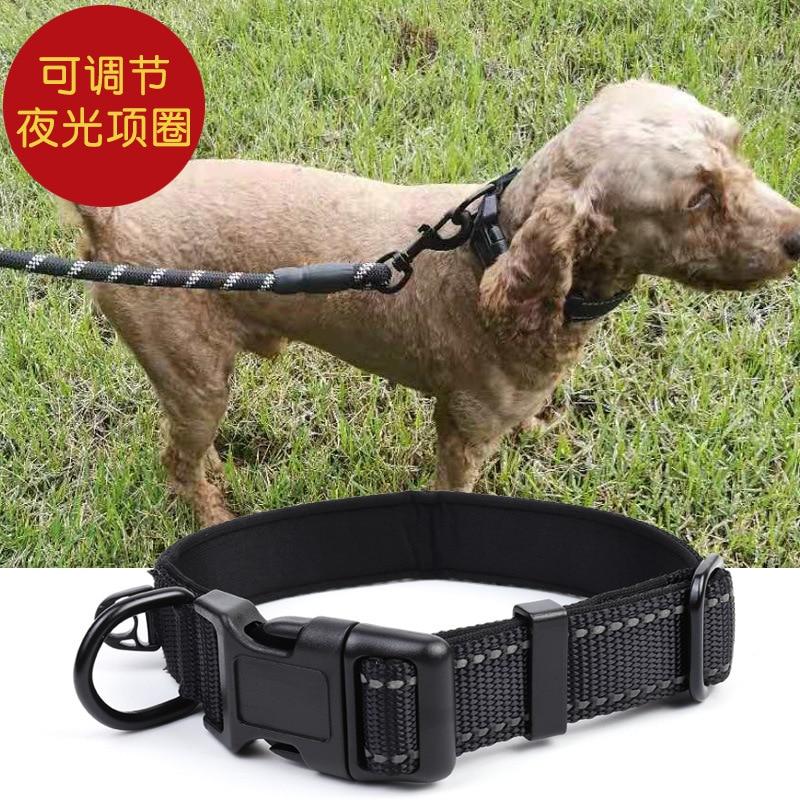 Dog Collar Night Light Adjustable Nylon Naples Dog Foam Collar Hand Holding Rope Pet Supplies