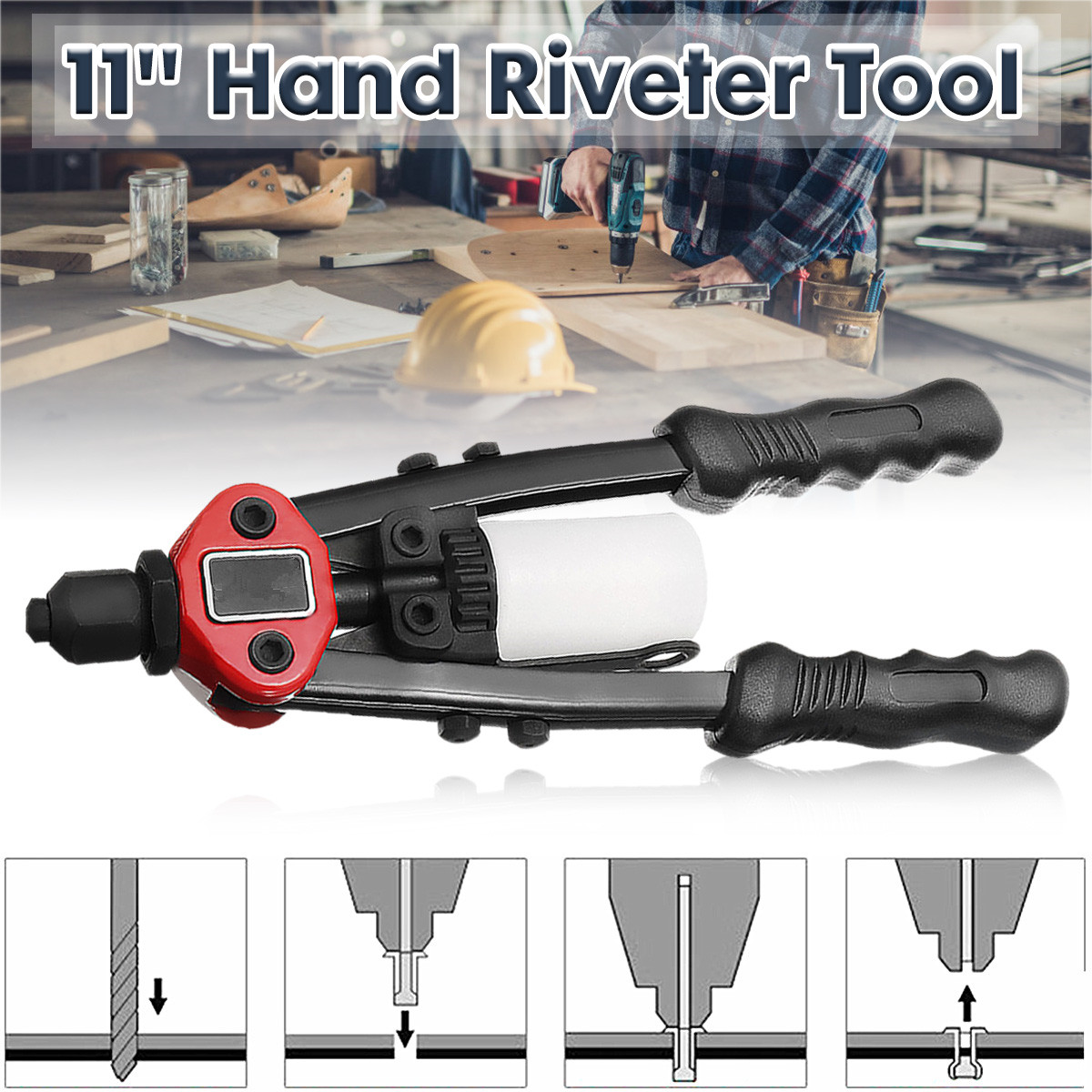 11 Inch 4 In 1 Riveter Guns Hand Riveting Kit Nuts Nail Guns Hand Riveter Tool Household Repair Tools Powers Tool