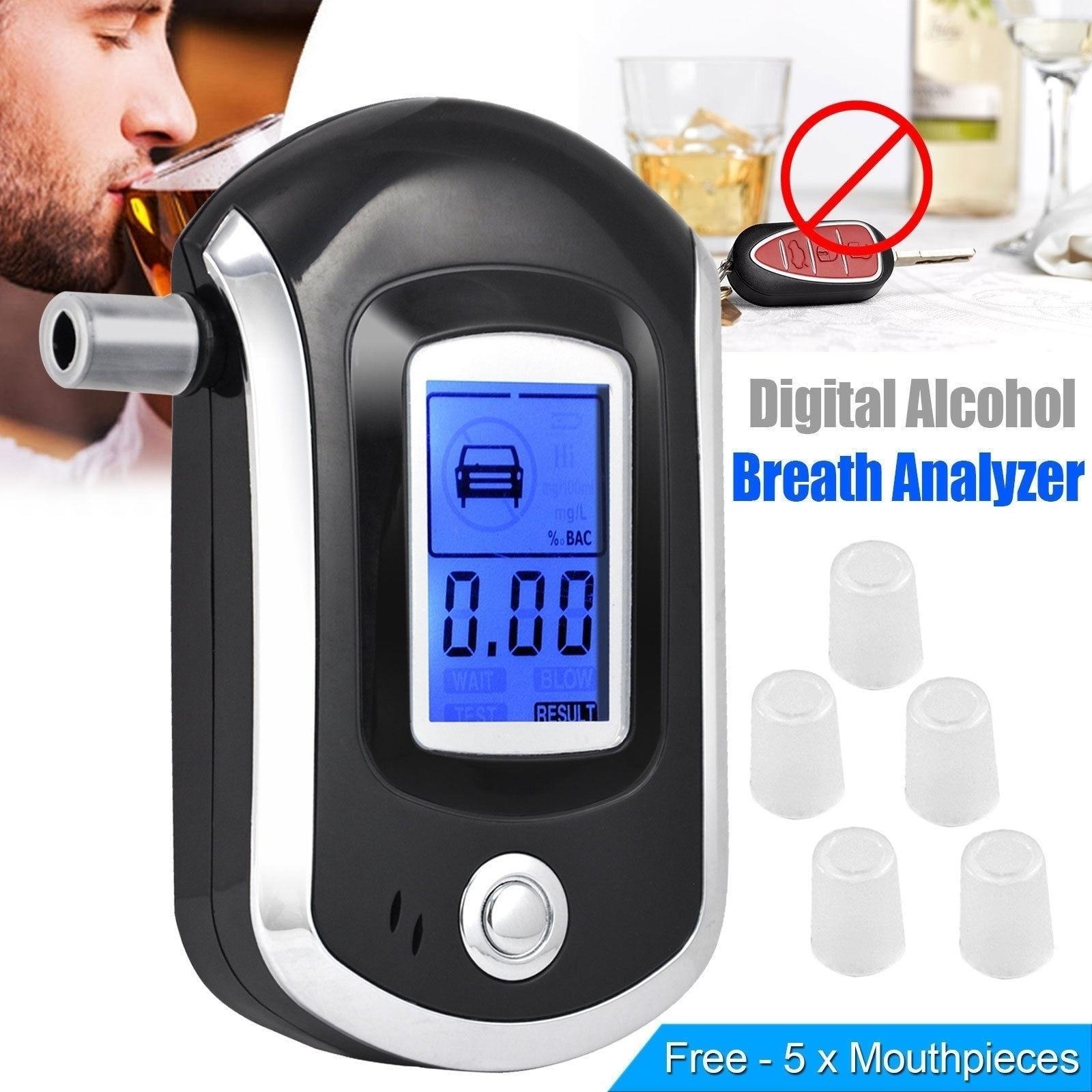 Profissional testador de álcool respiração digital bafômetro at6000 álcool respiração tester detector de álcool