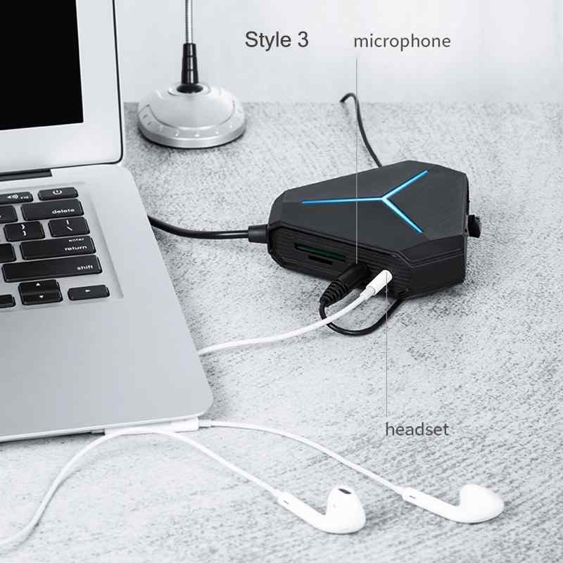 Répartiteur de câble USB 6 ports 1m avec lecteur de carte TF SD micro AUX lumière froide chargeur USB 2.0 Hub pour ordinateur portable de bureau multi-périphériques