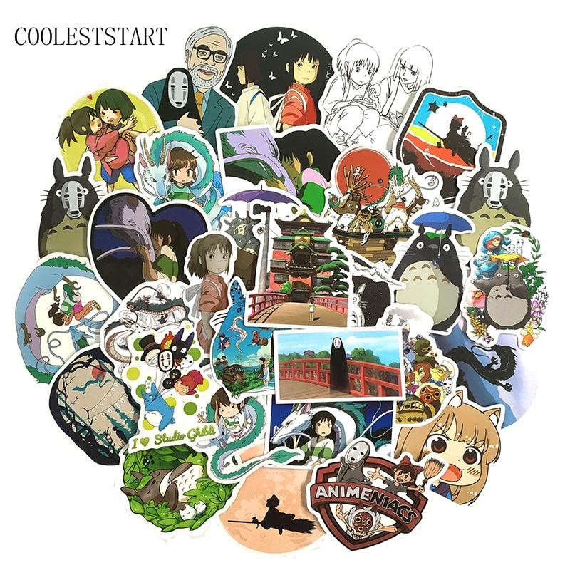 50Pcs/Set Miyazaki Hayao Anime Stickers Spirited Away Stickers For Motorcycle Trunk Refrigerator Laptop Scooter Toys Sticker