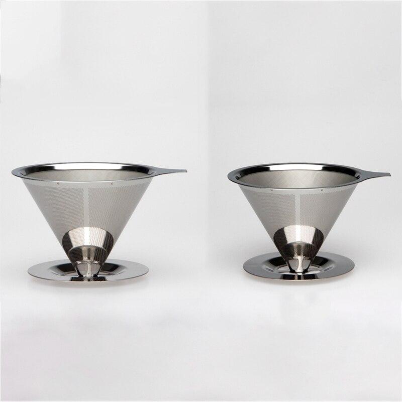 Многоразовый фильтр для кофе, держатель из нержавеющей стали, слой металлической сетки, воронка, корзины для кофе, капельница, чай, фильтр, к...