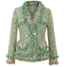 2020 spring autumn new small fragrance tweed blazers women fashion ladies v-neck