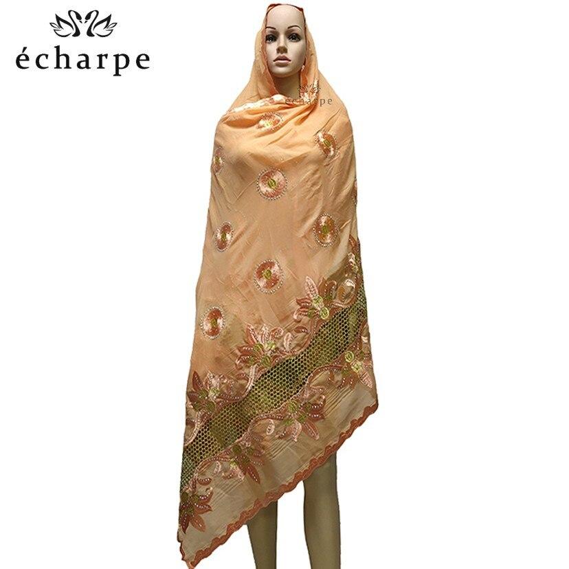 Image 2 - Последний Африканский мусульманский вышитый женский хлопковый  шарф, красивый и экономичный хлопковый большой женский шарф для шали  EC199Мусульманская одежда
