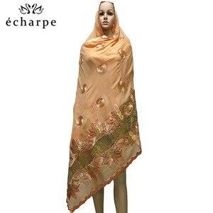 Image 2 - Mais recente africano muçulmano bordado lenço de algodão feminino, algodão bonito e econômico grande senhora cachecol para xales ec199