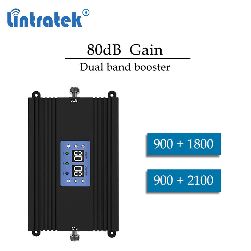 Lintratek Dual Band Repeater 2G 3G 900 2100 2G 4G GSM 900mhz 1800 Lte  Cellular Signal Booster Phone Amplifier 1800mhz Dcs 4g Dd