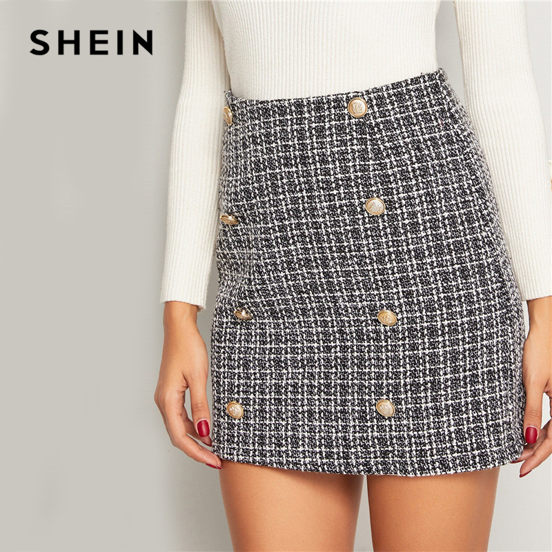 Image 3 - SHEIN Black and White Double Breasted Tweed Skirts Womens Autumn Winter Mid Waist Elegant A Line Ladies Sheath Mini Plaid Skirt-in Skirts from Women's Clothing