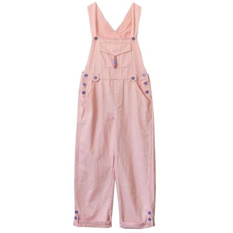 Korean Style Vintage Women Kawaii Solid   Jumpsuit   Mori Cute Strap Long Pants Pink Overalls Simple Casual Girl Kawaii Romper