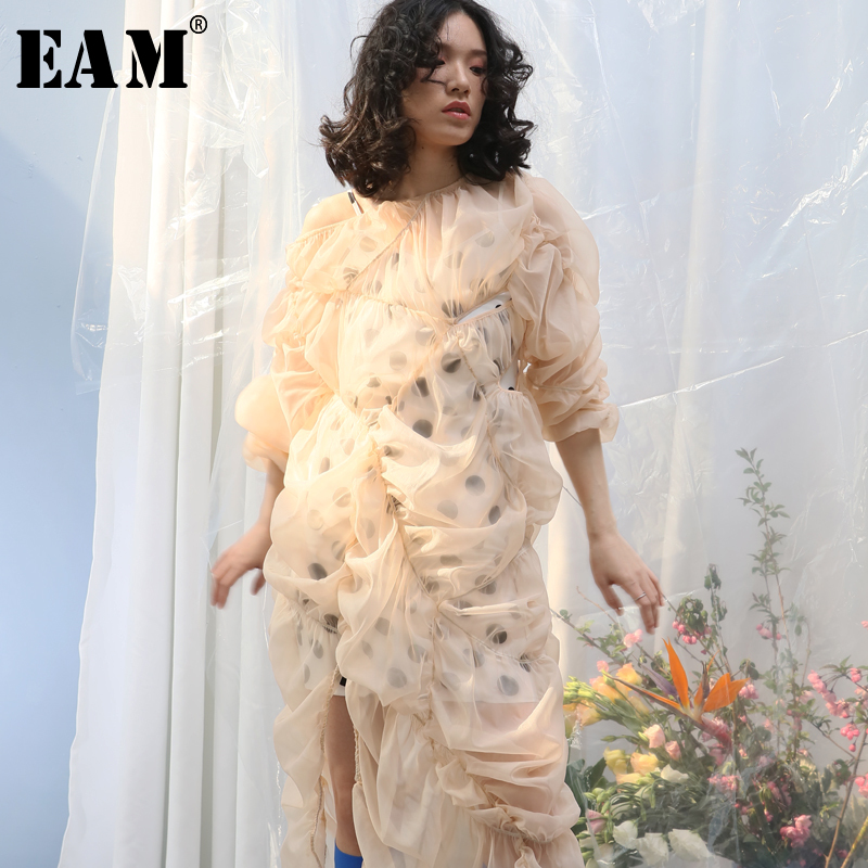 [EAM] Women Drawstring Irregular Dot Pleated Dress New Round Neck Long Sleeve Loose Fit Fashion Tide Spring Autumn 2020 1Y747