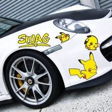 Anime pokemon adesivos de carro kawaii bolso monstros pikachu janela peeping adesivos para carros à prova dwaterproof água pikachu presente crianças brinquedos