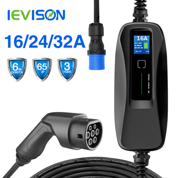 Type 2 EV Charger Level 2 32 Amp Portable Electric Vehicle Charger CEE Plug 220V-240V  EVSE Car Charging Cable, IEC 62196-2 zencar ce 16a 24a 32a portable type 2 blue cee connector evse level 2 ev charger