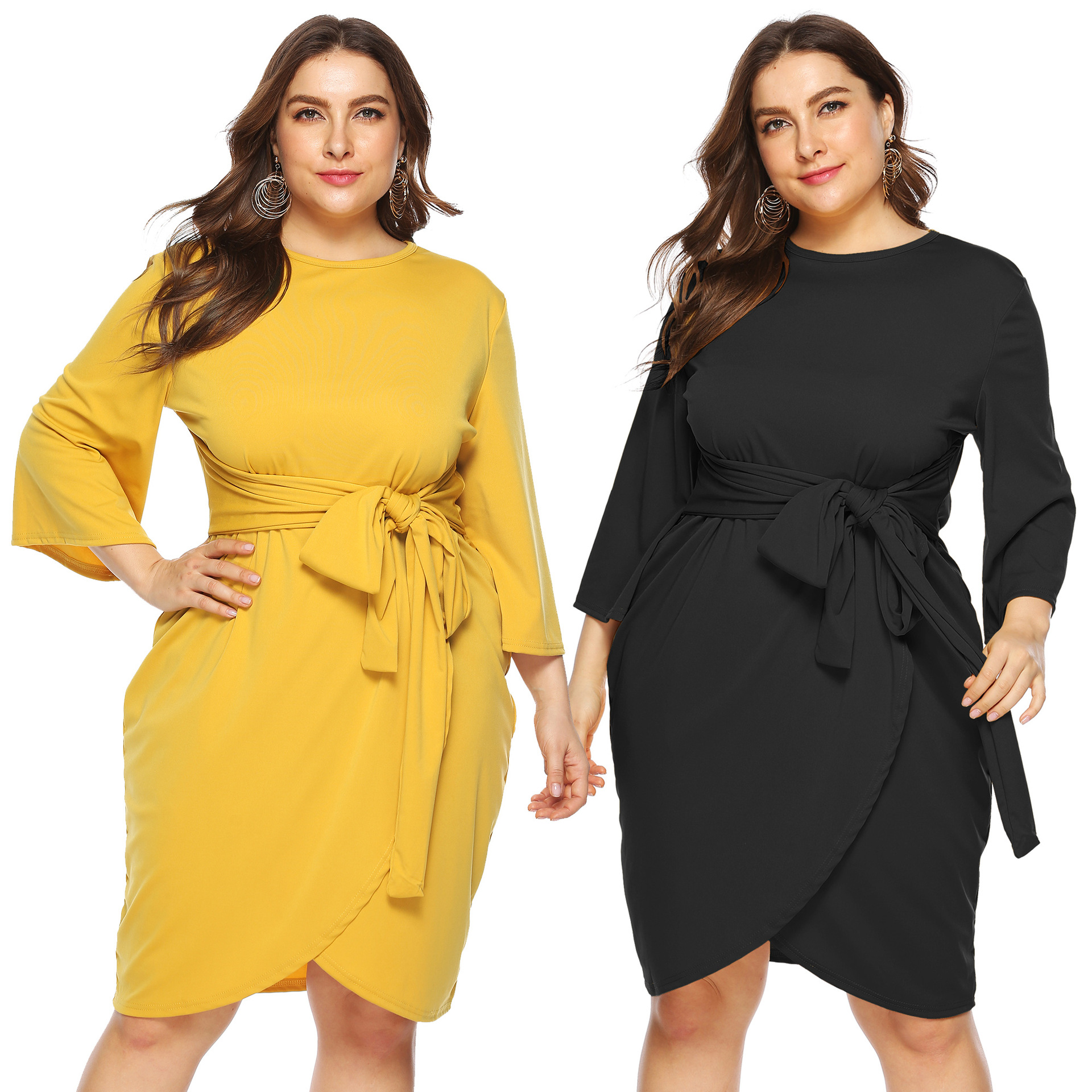 Large Size Dress Irregular Cross Straps Waist Hugging Capri Micro Bell Sleeve Solid Color Crew Neck Dress Women's A11012