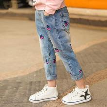 Осенне-зимние джинсовые штаны с принтом вишни для девочек; детские джинсы; детские брюки для подростков; рваные джинсы для детей 3-12 лет